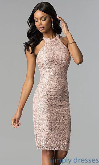 Rose Gold Lace Knee Length Graduation Party Dress | Cheap