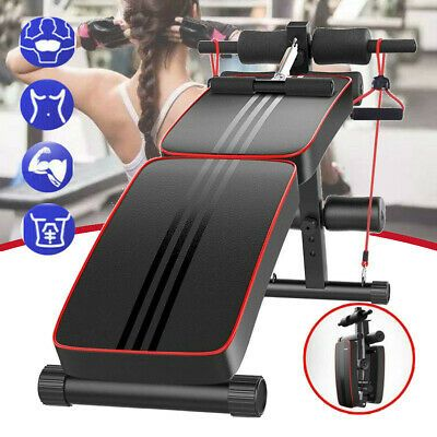 Ad Ebay Adjustable Sit Up Bench Ab Flat Training Exercise Crunch Board W Fitness Rope In 2020 Fitness Training Sit Up Abs
