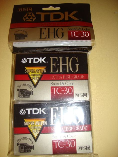 NEW! 2 pack TDK E-HG TC-30 Extra High Grade VHS-C Camcorder Tape Factory Sealed #TDK