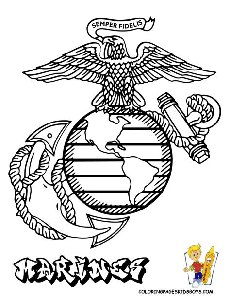 Armed Forces Emblem Coloring Pages | ... of Marine Corp Emblem at coloring-pages-book-for-kids-boys.com