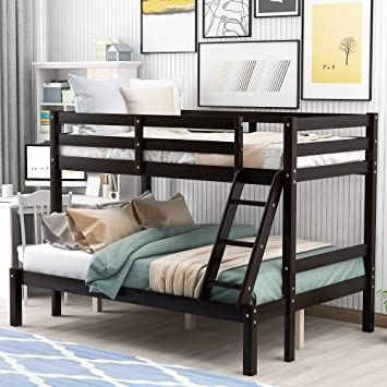 Solid Wood Bunk Beds Twin Over Full With Ladder And Guard Rail Gray Espresso Wood Bunk Beds Bunk Beds Solid Wood Bunk Beds Solid wood bunk beds twin over full