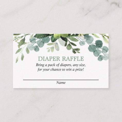Shop Eucalyptus baby shower diaper raffle cards created by StyleswithCharm. Boho Baby Shower, Baby Shower Winter, Boy Baby Shower Themes, Gender Neutral Baby Shower, Baby Boy Shower, Diy Baby Shower Decorations, Baby Shower Green, Baby Shower Diapers, Diaper Raffle