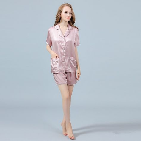 299efca353a5d 22 Momme Silk Pajamas Set Short Sleeve Shirt   Shorts with Trimming