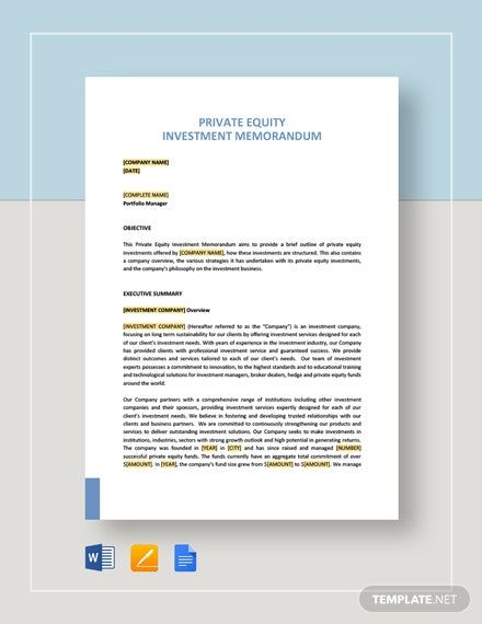 Private Equity Investment Memo Template Free Pdf Google Docs Word Apple Pages Template Net Memo Template Investing Private Equity