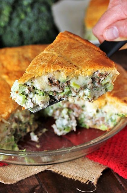 Serving A Piece Of Ground Beef Broccoli Pie With Crescent Roll Crust Image Ground Beef And Broccoli Crescent Roll Recipes Dinner Broccoli Pie Recipe
