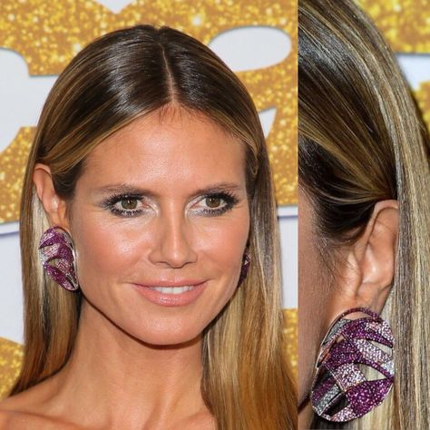 Heidi Klum dazzles in Lorraine Schwartz ruby pink sapphire and diamond earrings at the #AGTResults live season 13 show