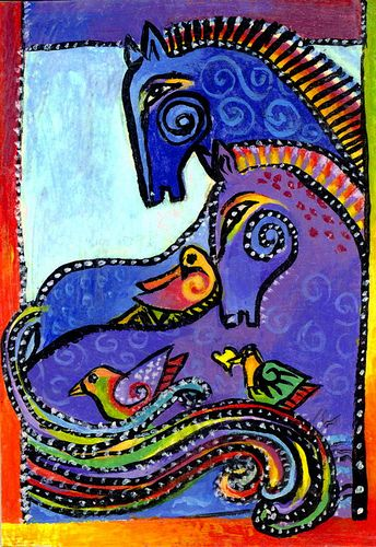After Laurel Burch ~ Composition with Horses and Birds. Love the rich colors and dense patterns.