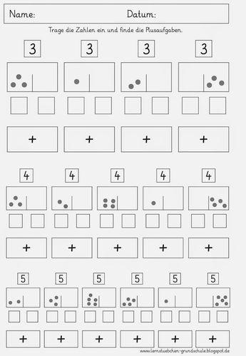 Zahlen Zerlegen Und Die Plusaufgaben Finden Learning Numbers Lesson Kindergarten
