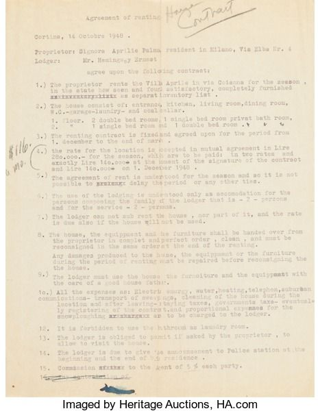 Royalty agreement (1925) for Hemingway u0027s short stories Famous - good faith agreement
