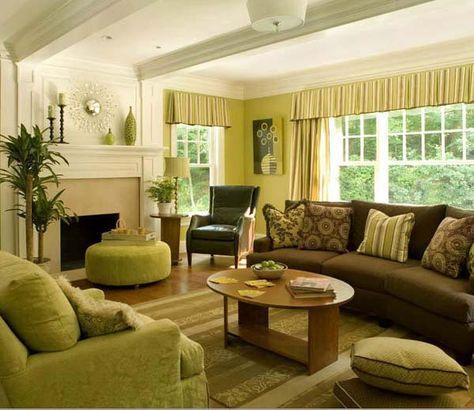 grüner sofa plus brauner sofa farbkonzept wohnzimmer Pinterest - wohnzimmer braunes sofa