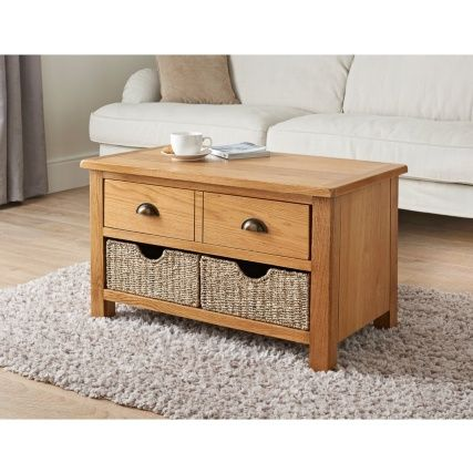 341190 Wiltshire Oak Coffee Table With, Wiltshire Oak Console Table With Storage Baskets