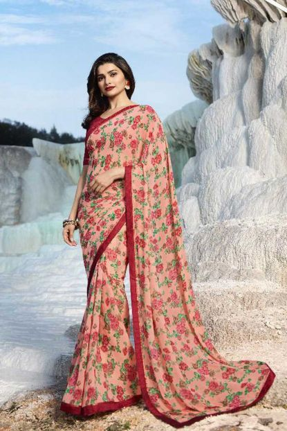 Peach Rose Flower Print Georgette Saree With Blouse Piece And Lace Border Cataloge Number 6829 Whatsapp 91 9377709 Fancy Sarees Blouse Piece Saree Designs