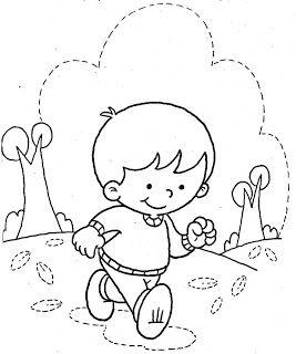 Desenho De Crianca Menino Andando Para Colorir Com Imagens
