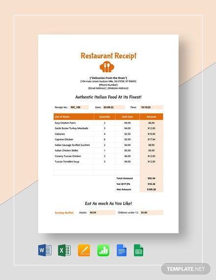 Simple Restaurant Receipt Template Free Pdf Google Docs Google Sheets Excel Word Template Net Receipt Template Financial Apps Templates