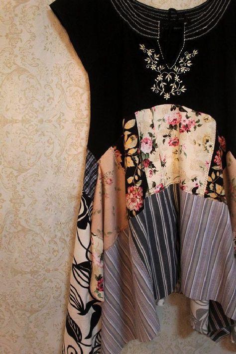 Boho Plus Size Shirt, Shabby Chic Romantic, Bohemian Junk Gypsy Style, Mori Girl, Lagenlook
