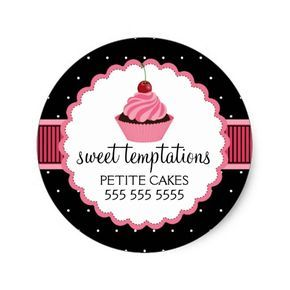 Shop Whimsical Bakery Cupcake Pink Box Seal created by SocialiteDesigns.