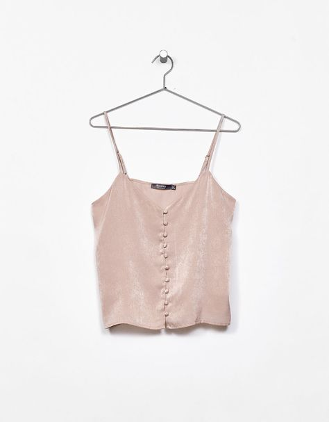 Strappy sateen top with buttons - Pink - Bershka Lebanon