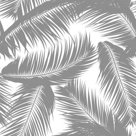 Tropical Palm Tree Leaves Vector Seamless Pattern Simple