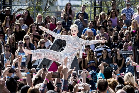 "Katy Perry performs during ""Katy Perry - Witness World Wide"" exclusive YouTube Livestream Concert at Ramon C. Cortines School of Visual and Performing Arts on June 12, 2017 in Los Angeles, California."