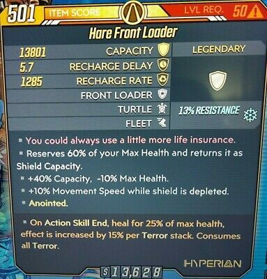 Xbox Borderlands 3 Hare Front Loader Cryo Anointed Shield God Roll