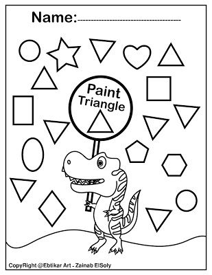 Dinosaur Preschool Find Triangle Preschool Coloring Pages Dinosaurs Preschool Abc Coloring Pages