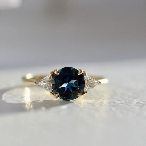 Blue Lagoon Round Brilliant Cut Sapphire and Diamond Ring