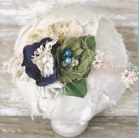 Blue and Green baby headband.