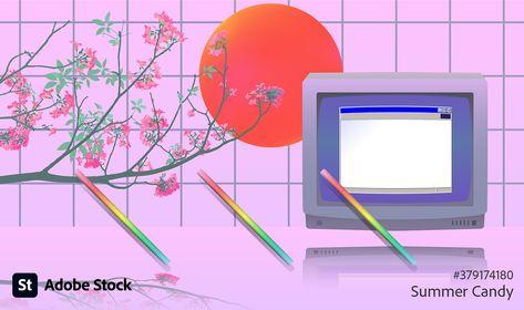 Vintage OS desktop computer on pastel neon background