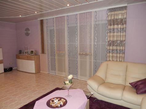 Wohnzimmer Schiebevorhang mit dominanten Beigetönen -    www - vorhänge blickdicht schlafzimmer