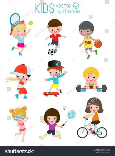 Kids And Sport Kids Playing Various Sports Cartoon Children Sports Football Swimming Baseball Tennis Weight Lifti Kids Sports Kids Playing Sport Football