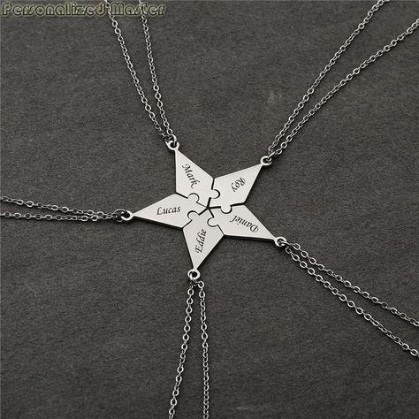 Personalized Master Customized 5/6 Pieces Best Friends BFF Necklaces Friendship Puzzle Piece Charm Pendant Necklace For DIY Set