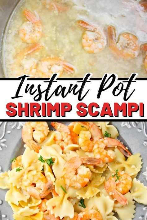 This delicious and easy instant pot shrimp scampi recipe takes just 12 minutes to make and can be served over pasta or rice for a quick and tasty dinner. #instantpot #Instantpotrecipes #easydinner #shrimp #pressurecooker #instantpotdinner #easyrecipe #30minutemeals #weeknightdinner