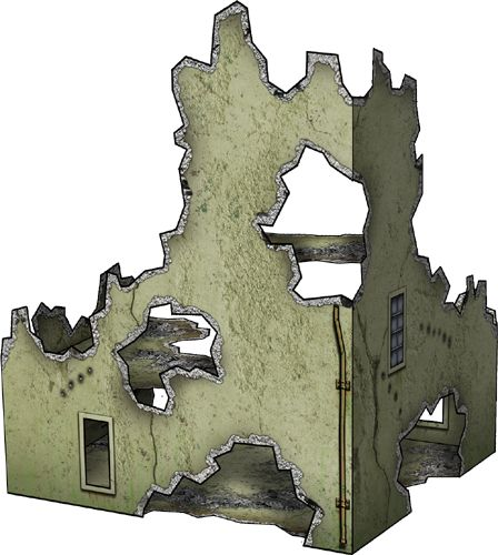 Free miniature paper Textures Bombed House 30mm paper model now - free isometric paper