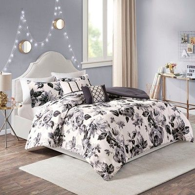 Twin Twin Xl 4pc Hannah Floral Print Comforter Set Black White In 2021 Comforter Sets Duvet Cover Sets Floral Comforter Sets