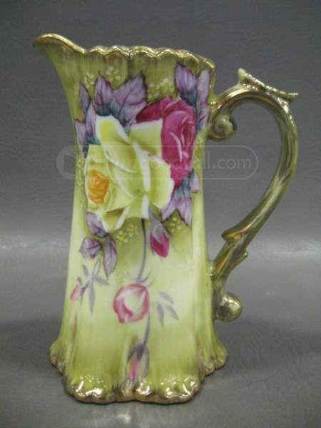 Nippon hand painted antique art nouveau water jug