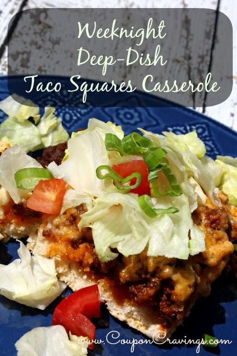 Taco Squares Casserole for an easy weeknight dinner! -->   http://couponcravings.com/favorite-frugal-recipes/#taco-squares  #Taco #meat #casserole #yum #easydinner