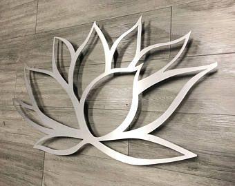 Brushed Lotus Flower Metal Wall Art Lotus Metal Art Home Decor Metal Art Wall Art Flower W In 2020 Silver Wall Art Metal Wall Art Large Metal Wall Art