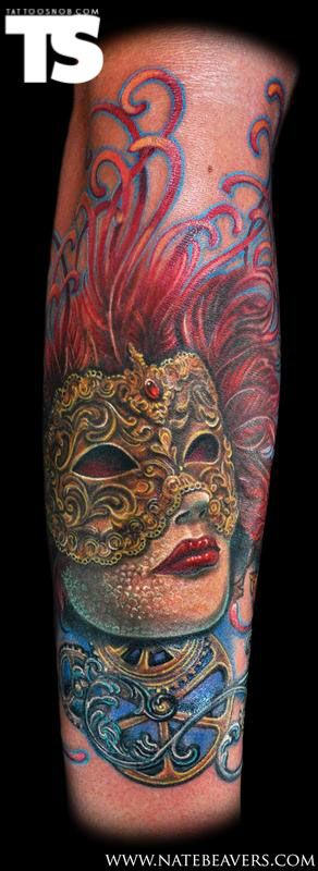 Mask by Nate Beavers. This is the tattoo that finalized my decision to use Nate for my side piece.  Amazing attention to detail here.