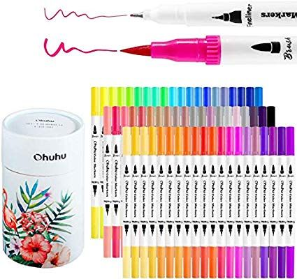 Amazon Com Ohuhu Art Markers Dual Tips Coloring Brush Fineliner