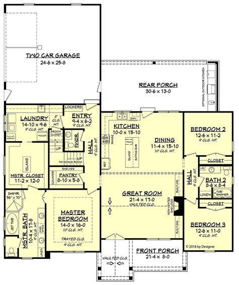 Southern Style House Plan 51984 with 3 Bed, 3 Bath, 2 Car Garage