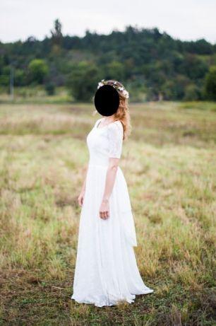 Witam Mam Do Sprzedania Przepiekna Suknie Slubna Zostala Uszyta Na Zamowienie A Zainspirowana Sukniami Boho S Wedding Dresses Sleeveless Wedding Dress Dresses