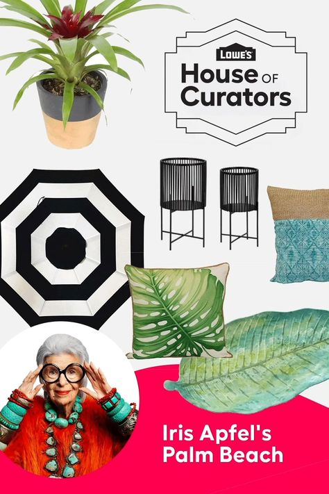 Transport yourself to a lush, tropical and sun-drenched setting without leaving home when you shop Iris Apfel's Palm Beach curation for Lowe's House of Curators.