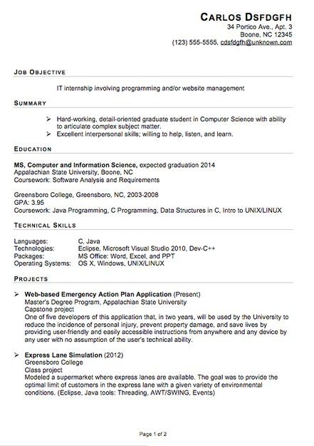 Example Resume For Internship Resume For Internship Pinterest - it internship resume