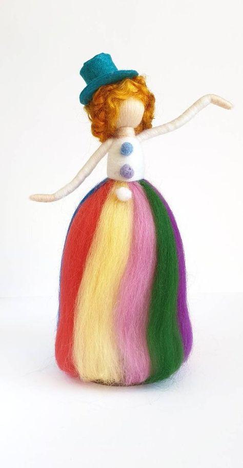 Needle felt clown felt figurine circus clown figurine wool   Etsy
