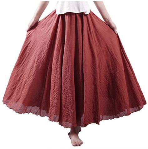 Asher Womens Bohemian Style Elastic Waist Band Cotton Linen Long Maxi Skirt Dress Waist 23.0-35.0