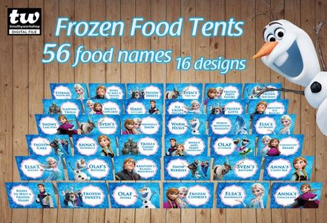 Frozen Food Tents Food Labels Frozen Themed Birthday