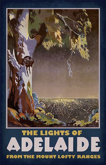 Lights Of Adelaide Retro Travel Poster Travel Posters Vintage Travel Posters