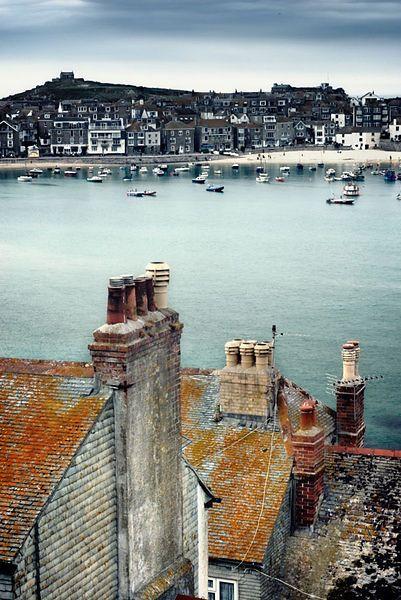 Overlooking rooftops across St Ives harbour, Cornwall, England,uk