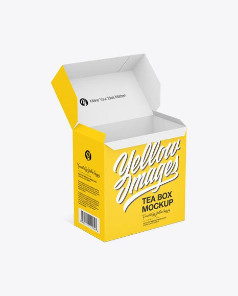 Download Opened Tea Paper Box Mockup Half Side View In Box Mockups On Yellow Images Object Mockups Box Mockup Mockup Psd Free Psd Mockups Templates