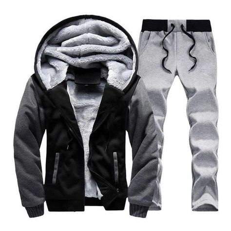 Mens Winter Casual Tracksuit Hoodie Jacket Pants Set Jogger Sports Suits Warm